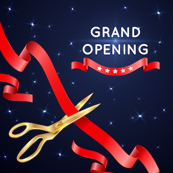 Ribbon cutting with scissors grand opening poster. banner with cut silk ribbon