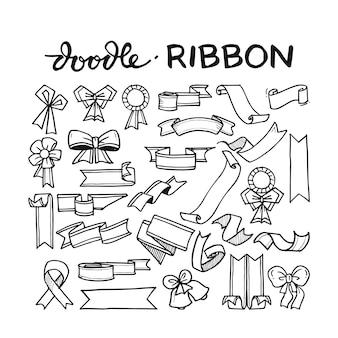 Ribbon doodle hand drawn