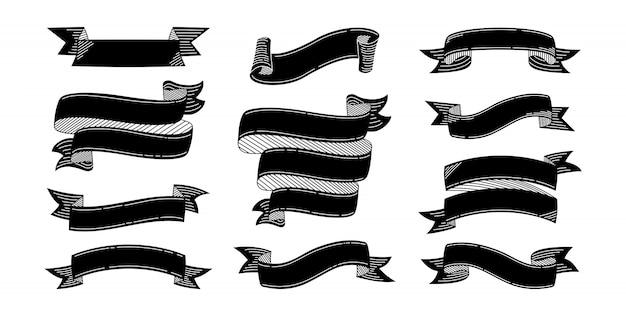 Лента каракули набор черная гравюра