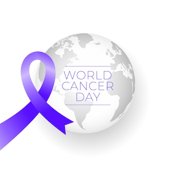Ribbon and earth for world cancer day background