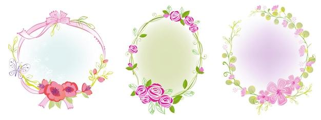 Ribbon and flower frames illustration for fairytales princess design