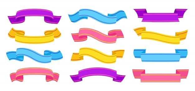 리본 손으로 그린 화려한 세트. 테이프 빈 평면 컬렉션, 장식 아이콘입니다. 빈티지 리본 만화 스타일에 서명합니다. 파란색, 분홍색 및 자주색. 텍스트 배너 테이프의 웹 아이콘 키트입니다. 고립 된 그림