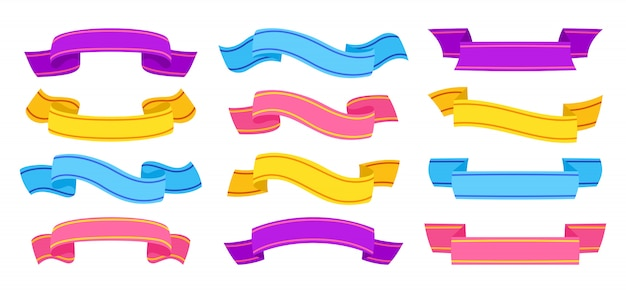 Ribbon hand drawn colorful set. tape blank flat collection, decorative icons. vintage ribbons sign cartoon style. blue, pink and purple. web icon kit of text banner tapes. isolated illustration