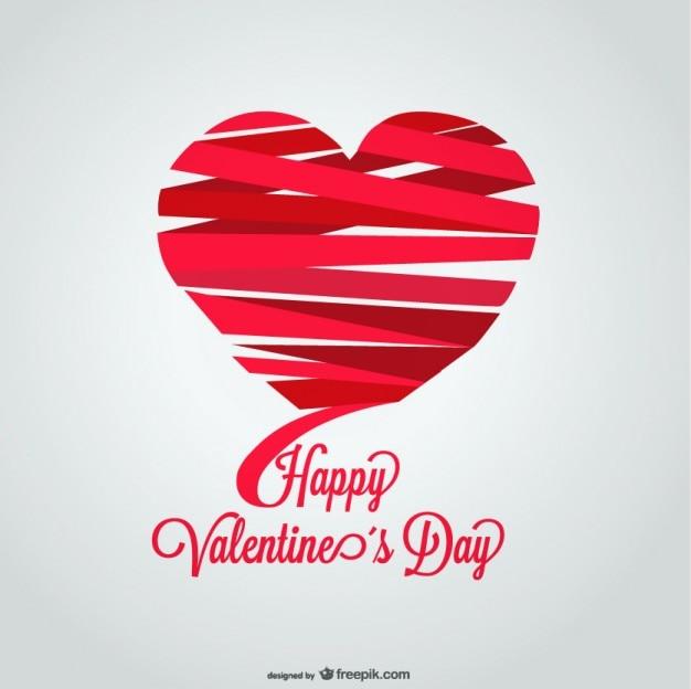 리본 하트 모양 발렌타인 데이 카드 디자인