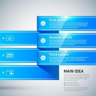 Лента инфографики с глянцевой текстурой, синий цвет