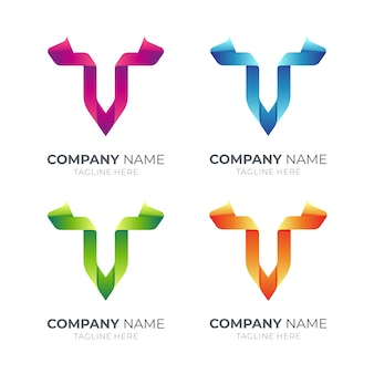 다양한 색상의 리본 문자 v 로고