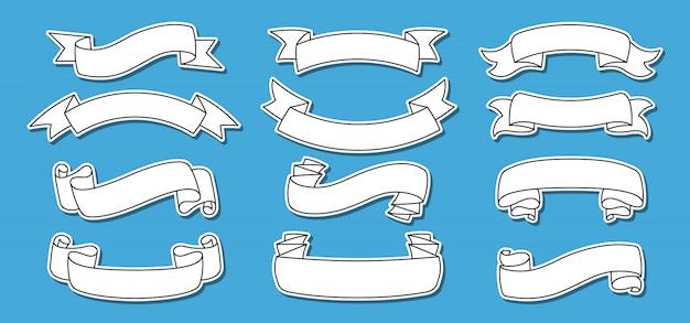 Линия ленты установить старинные наклейки этикетки. лента контурная коллекция, декоративная накладка. эскизный дизайн, стиль знака ленты