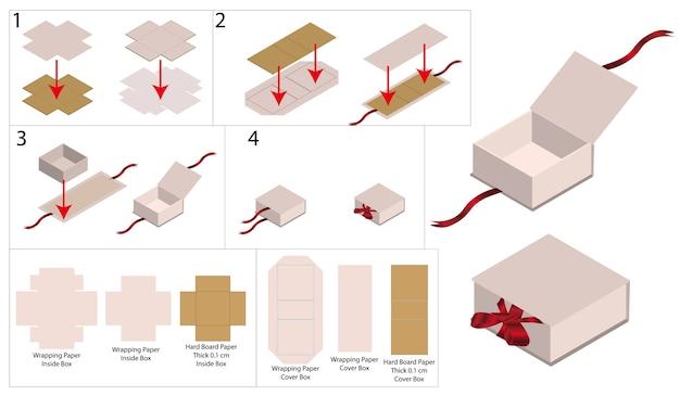 Макет ленточной жесткой коробки с dieline