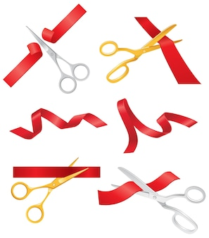 Ribbon & scissors - realistic modern vector set of different objects. white background. use this quality clip art elements for your design. cut the red ribbon, open a show, concert, store.