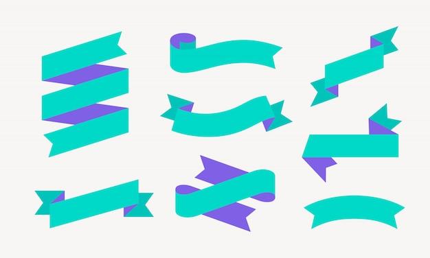 리본 . 텍스트, 문구에 대 한 컬러 리본 배너 세트