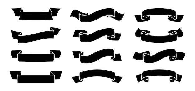 Лента силуэт винтажный комплект черная лента