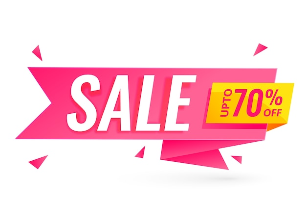Ribbon style sale banner with offer details