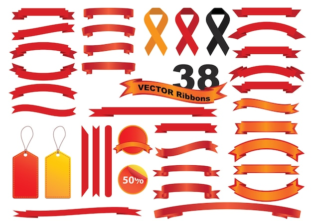 Ribbon vector icon set red color on white background.