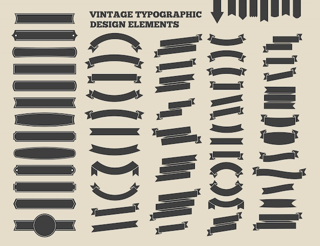 Ribbon and vintage emblem set. design typographic element. vector illustration