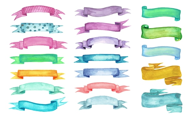 Ribbon watercolor set isolated