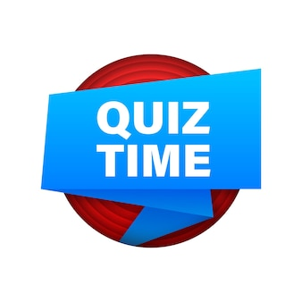 Ribbon with quiz time. blue flat banner. web design. vector stock illustration.