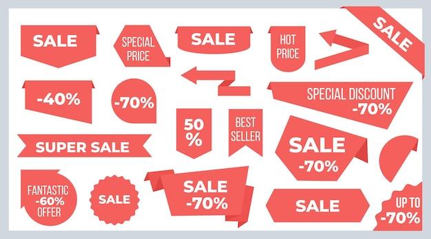 리본과 배너. 판매 가격 태그 및 할인 제공 스티커 그래픽 디자인 템플릿. 벡터 새로운 모양 빨간 리본 레이블, 아이콘, 뜨거운 광고 또는 프로모션 판매를위한 배지
