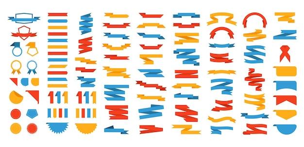 Ленты и фигурки. рекламный баннер флаг и продажа декоративных старинных элементов. векторные иллюстрации гарантия качества специальный тег современный цветной баннер