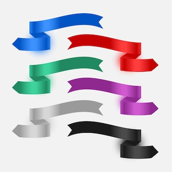 Ribbons banner flags set of six
