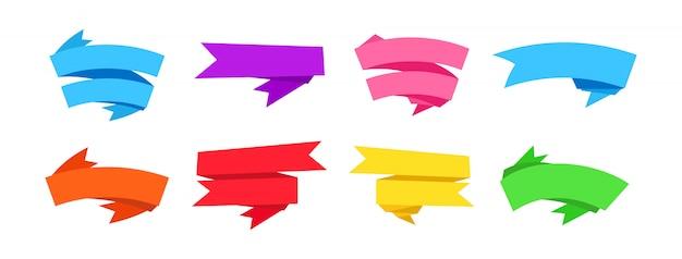 Баннер ленты для набора текста. плоский дизайн пустые ленты, пустая коллекция этикеток. изолированные