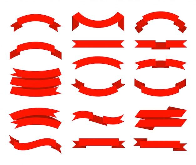 고삐. 배너 테이프 컬렉션 프리미엄 레드 리본 다른 모양 컬렉션