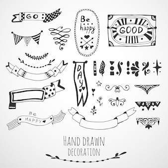 Ribbons, border and frames collection. Cute hand drawn design elements. Vector doodle set.