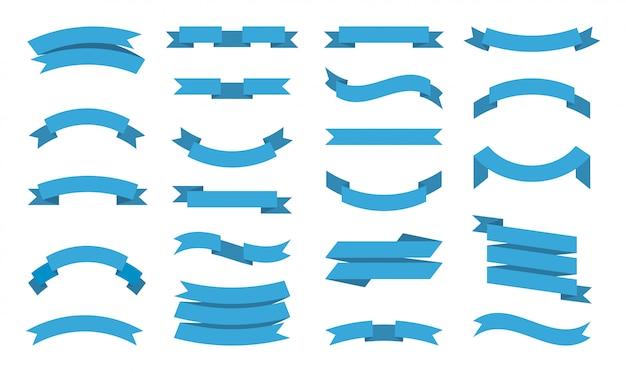 リボンコレクション。デザインプロジェクトの装飾的なリボンのテキストフラット画像のための場所を持つプレミアムバナーテープ