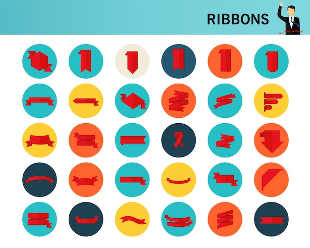 Ribbons concept flat icons.