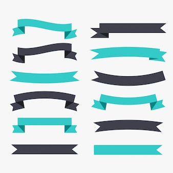 Ribbons decoration set in black and turquoise color