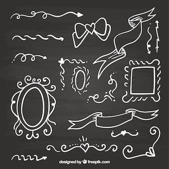 칠판 스타일에서 리본 프레임 및 화살표 컬렉션