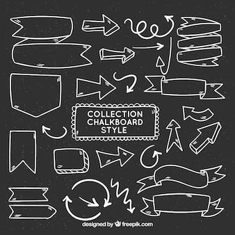Коллекция лент, рам и стрелок в стиле доски