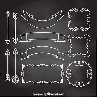 Ribbons, frames and arrows collection in chalkboard style