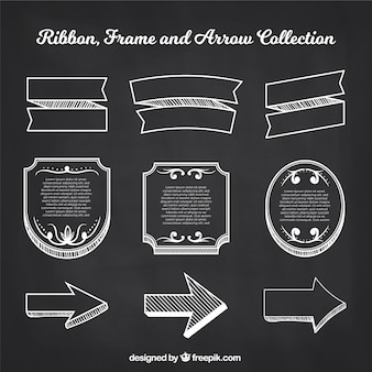 Ribbons frames and arrows collection in chalkboard style