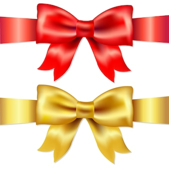 Ribbons, red and gold gift satin bow, isolated on white background,  illustration