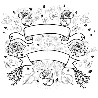 Ribbons and roses background