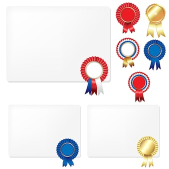 Ribbons rosette badge and blank gift tags