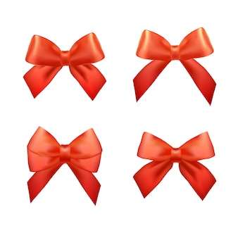 Ribbons set for christmas gifts. red gift bows