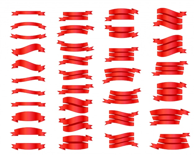 Ribbons set isolated. collection of cute tape.