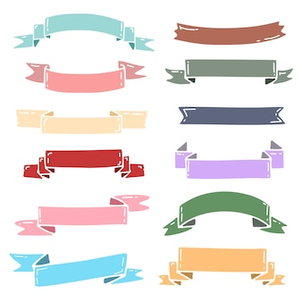 Ribbons vector collection with cute pastel color. set of pastel ribbons for wedding invita