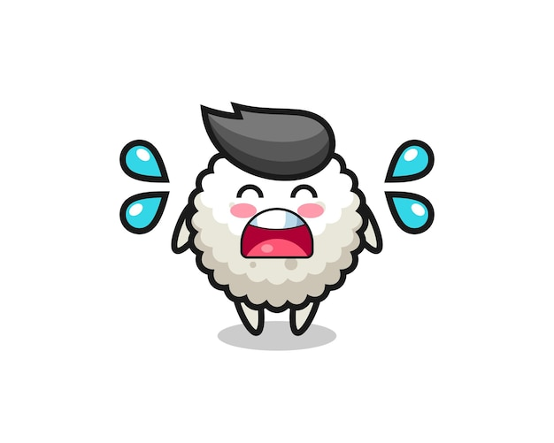 Иллюстрация шаржа рисового шара с жестом плача, милый стиль дизайна для футболки, наклейки, элемента логотипа