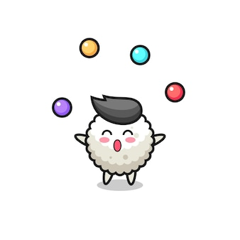 The rice ball circus cartoon juggling a ball , cute style design for t shirt, sticker, logo element