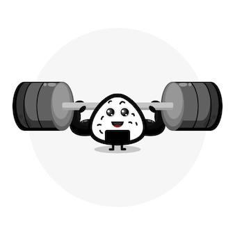 Рисовый мяч фитнес милый персонаж логотип