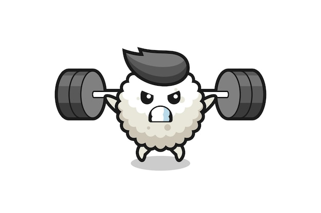 Rice ball mascot cartoon with a barbell , cute style design for t shirt, sticker, logo element