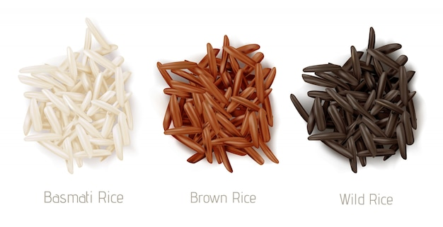 Rice basmati, brown and wild grain piles top view