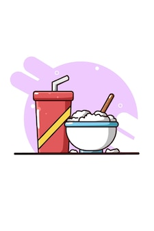 Rice in bowl and drink bottle cartoon illustration