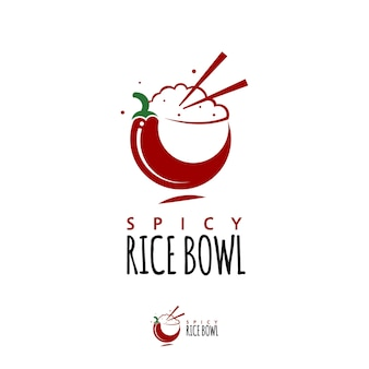 Rice bowl logo healthy food design template
