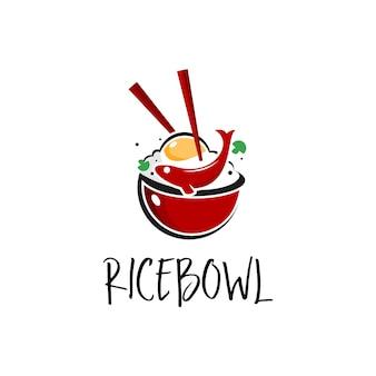 Rice bowl poke logo food vector