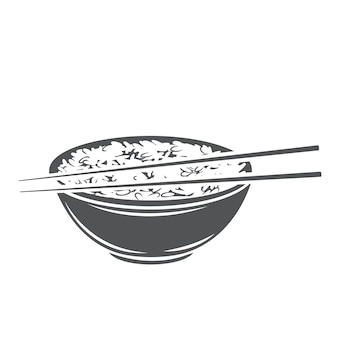Rice bowl with chinese chopsticks glyph monochrome icon