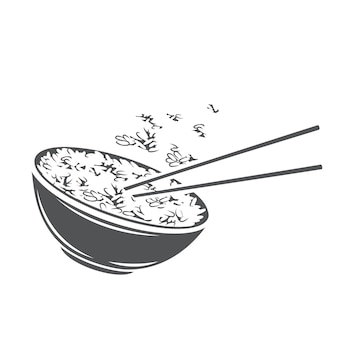 Rice bowl with chinese vertical chopsticks glyph monochrome icon for asian food menu.