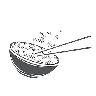 아시아 음식 메뉴에 대 한 중국 수직 젓가락 글리프 흑백 아이콘으로 밥 그릇.